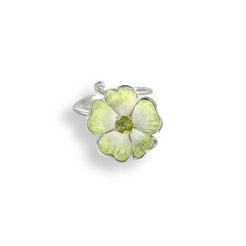 Green Floral Ring.Sterling Silver-Peridot