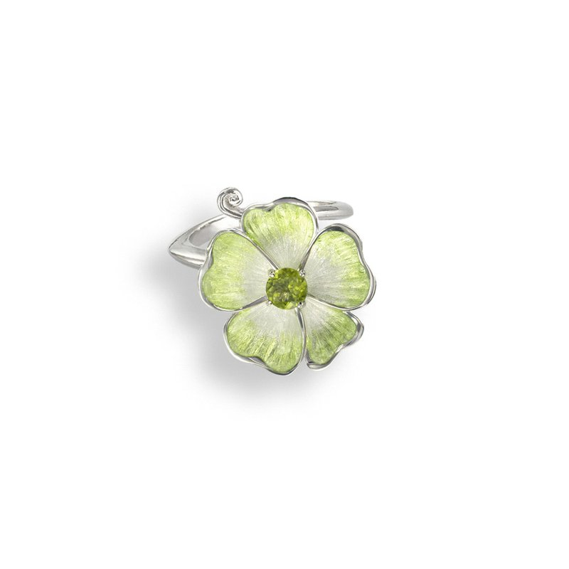 Nicole Barr Designs Green Floral Ring.Sterling Silver-Peridot