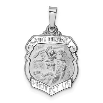 14k White Gold Polished and Satin St Michael Medal Hollow Pendant