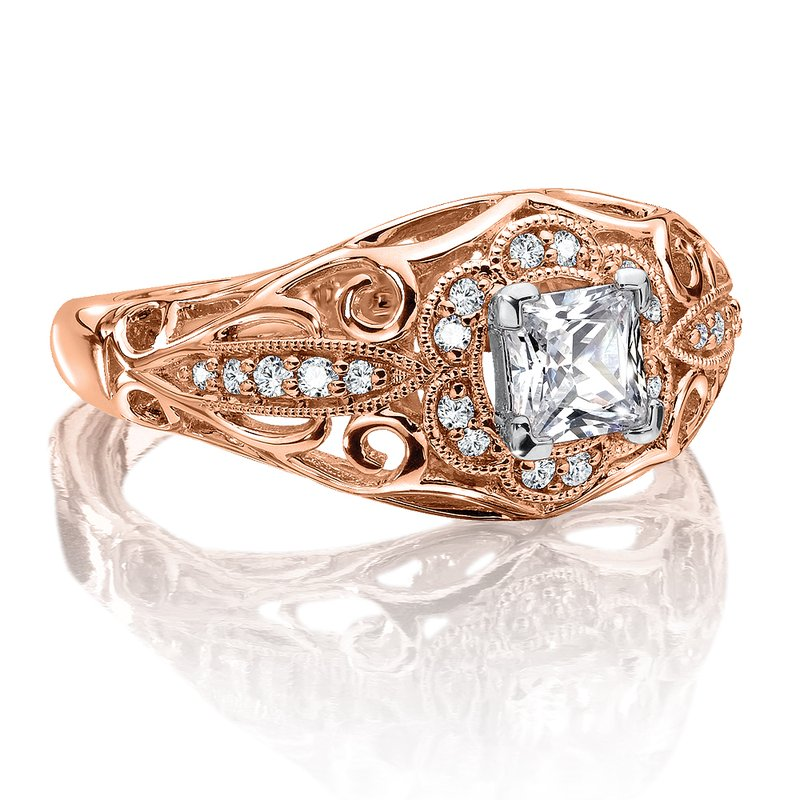 Valina Diamond Engagement Ring Mounting in 14K Rose Gold (.14 ct. tw.)