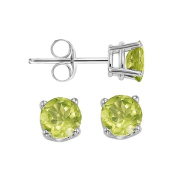 Four Prong Peridot Studs in 14K White Gold (4.5 MM)