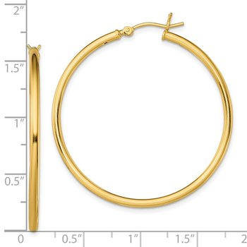Sterling Silver Gold-Tone Polished 2x40mm Hoop Earrings