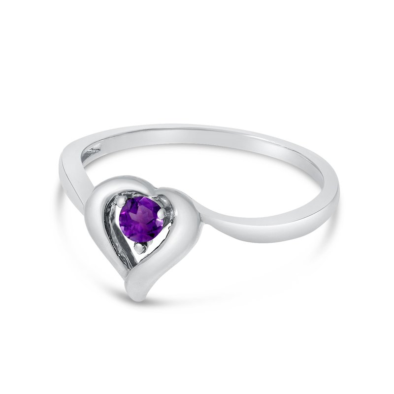 Color Merchants 10k White Gold Round Amethyst Heart Ring