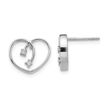 SS White Ice .04ct Diamond Heart Earrings
