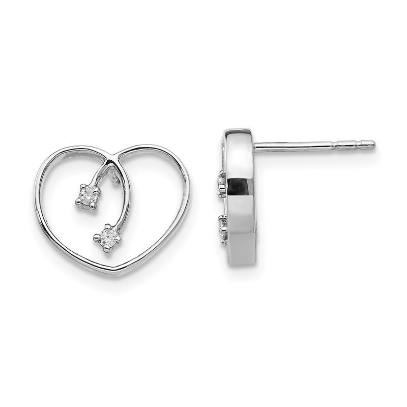 J.F. Kruse Signature Collection SS White Ice .04ct Diamond Heart Earrings