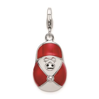 Sterling Silver Rhodium-plated w/Lobster Clasp Enameled 3-D Ball Cap Charm