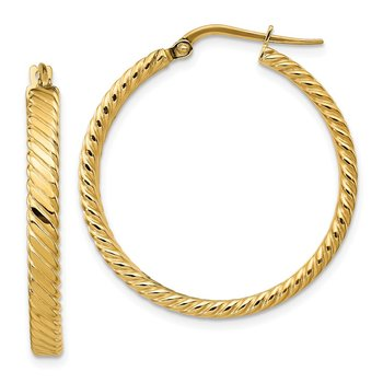 14K Large 3mm Patterned Hoop Earrings