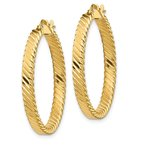 Quality Gold 14K Large 3mm Patterned Hoop Earrings