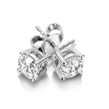 Four Prong Diamond Studs in 14k White Gold Screw-back posts (1/7ct. tw.)