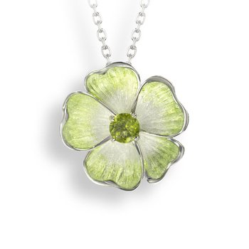 Green Floral Necklace.Sterling Silver-Peridot