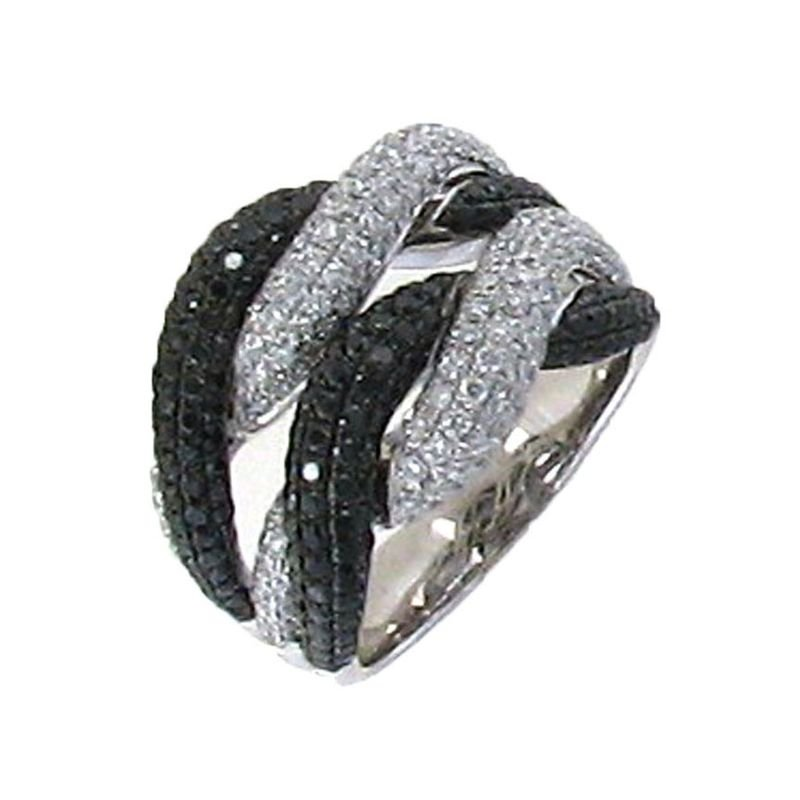 Roberto Coin 18Kt Gold Black And White Diamond Twist Ring