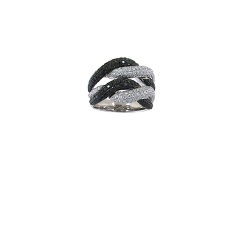 18Kt Gold Black And White Diamond Twist Ring