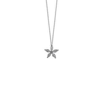 18Kt White Gold Single Star Marquise Pendant
