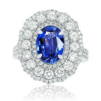 Oval Natural Sapphire & Diamond Ring