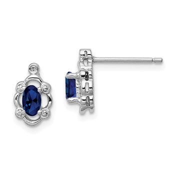 Sterling Silver Rhodium-plated Created Sapphire & Diam. Earrings