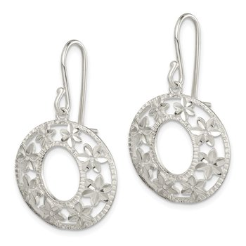 Sterling Silver Diamond-cut Flower Dangle Earrings