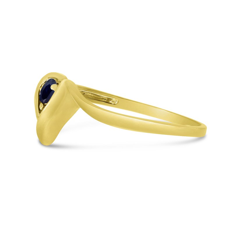 Color Merchants 14k Yellow Gold Round Sapphire Heart Ring