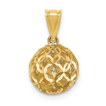 14K D/C Ball Dangle Pendant