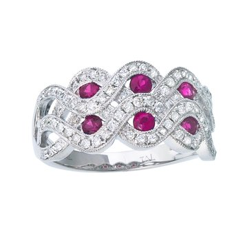 14k White Gold 2 Row Ruby and Diamond Ring