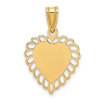 14K Polished Border Heart Pendant