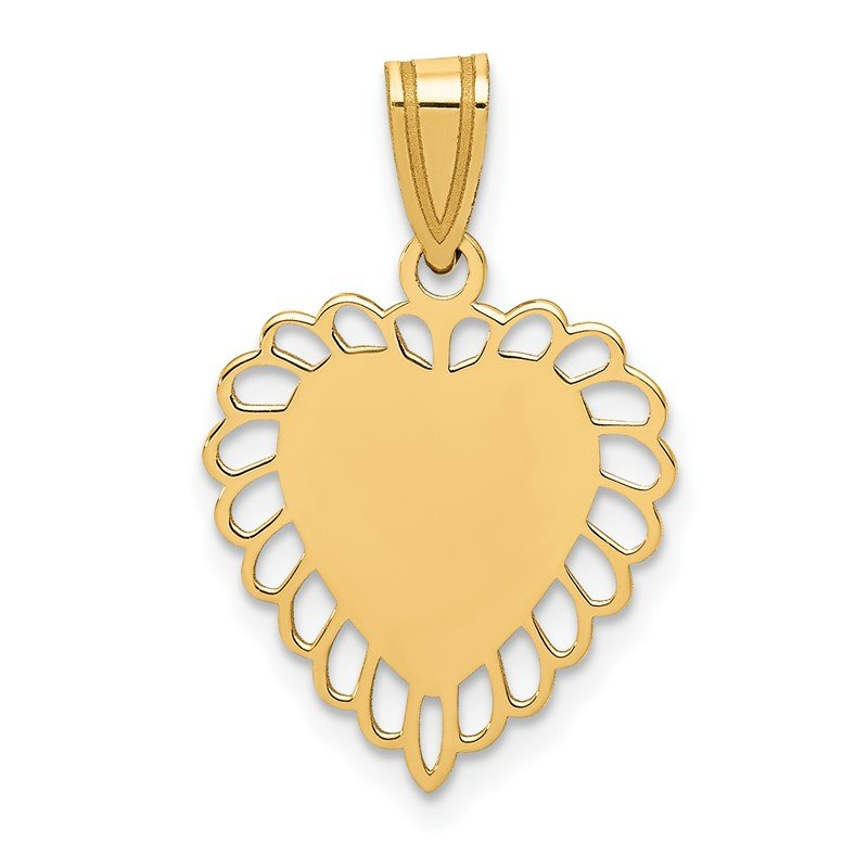 Quality Gold 14K Polished Border Heart Pendant
