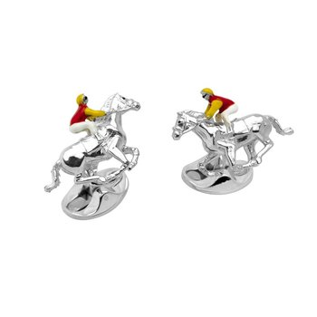 Red and Yellow Horse & Jockey Cufflinks