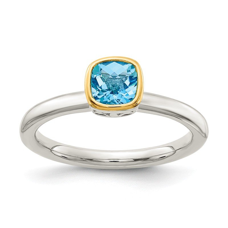 Shey Couture Sterling Silver w/ 14K Accent Light Swiss Blue Topaz Ring