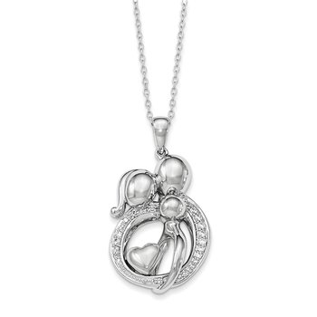 Sterling Silver CZ Family of 3Gathering 18in. Necklace