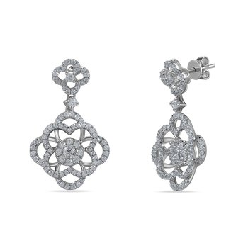 14K floer motif drop Earrings 334 Diamonds 3.72C