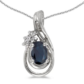 10k White Gold Oval Sapphire And Diamond Teardrop Pendant