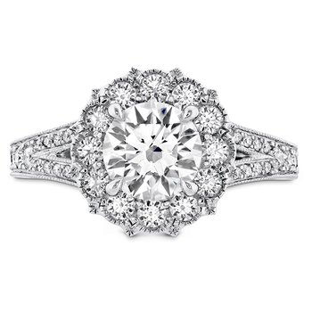 0.6 ctw. Liliana Halo Engagement Ring - Dia Band