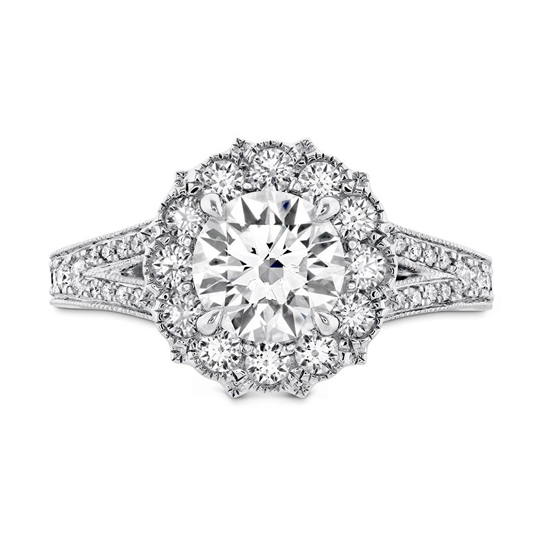 Hearts on Fire 0.6 ctw. Liliana Halo Engagement Ring - Dia Band
