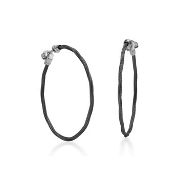 Black Cable 1.5″ Hoop Earrings with 18kt White Gold