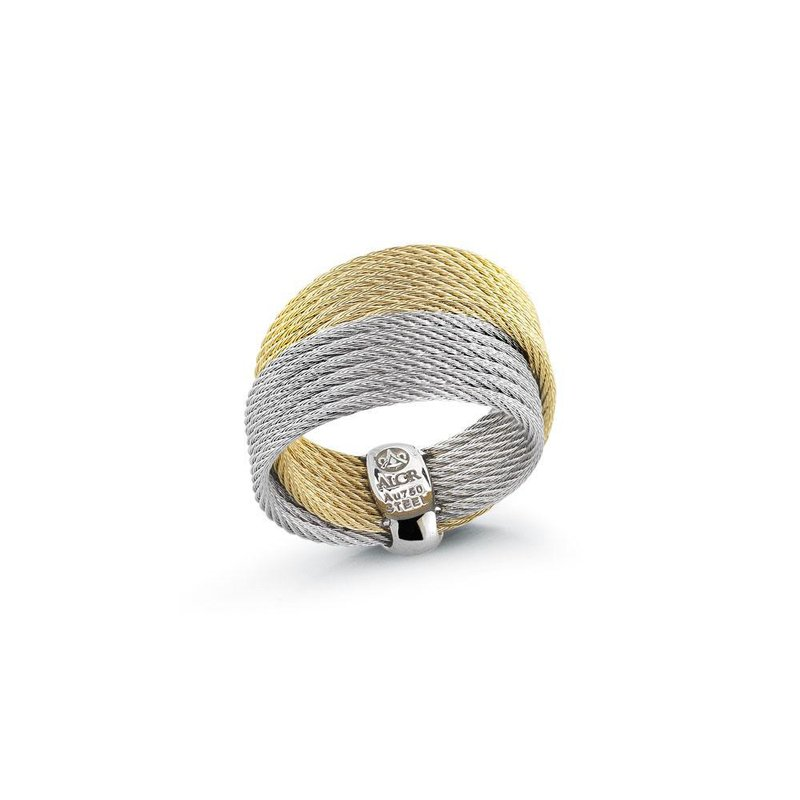 ALOR Yellow & Grey Cable Crossed Ring with 18kt Yellow Gold