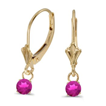 10k Yellow Gold 5mm Round Genuine Pink Topaz Lever-back Earrings