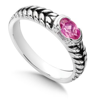 Sterling Silver Created Pink Sapphire Essentials Ring