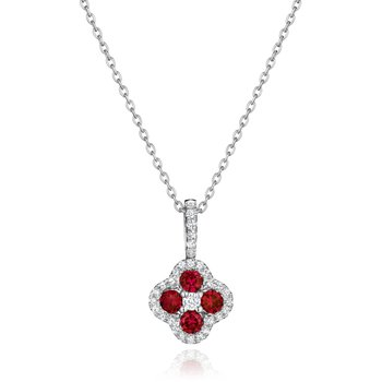 Front & Center Ruby and Diamond Cluster Pendant