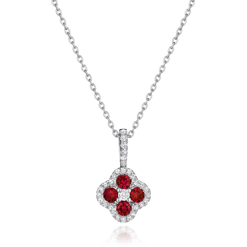 Fana Front & Center Ruby and Diamond Cluster Pendant