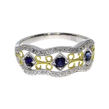 14k White Gold Two Tone Sapphire and Diamond Filigree Band