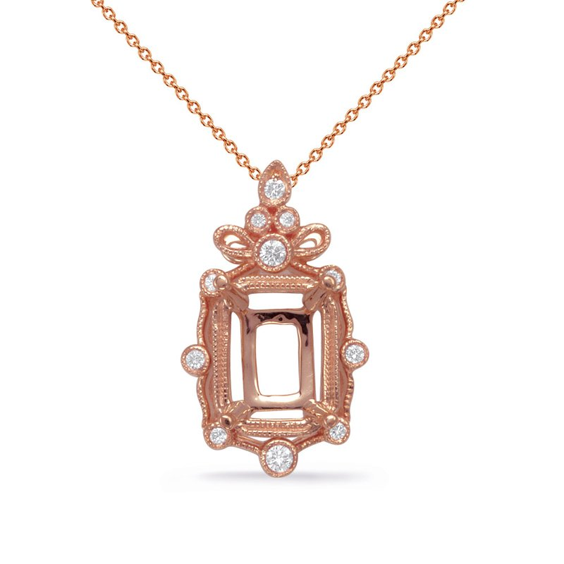 S. Kashi  & Sons Rose Gold Diamond Pendant 7x5 EC Center