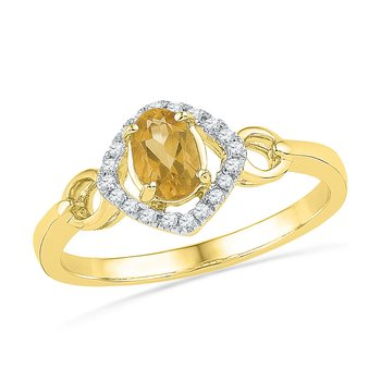 10kt Yellow Gold Womens Oval Lab-Created Citrine Solitaire Diamond Ring 1/2 Cttw