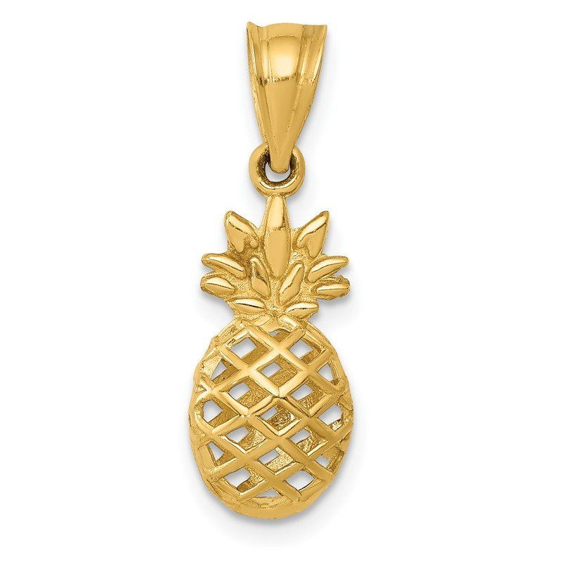 Quality Gold 14k Polished 3D Pineapple Pendant