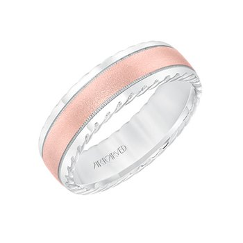 14K Two-Tone Rose Gold Comfort Fit Wedding Band