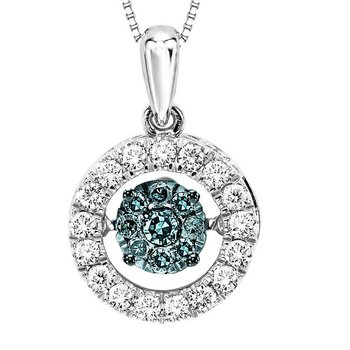 10K Blue & White Diamond Rhythm Of Love Pendant 1/2 ctw