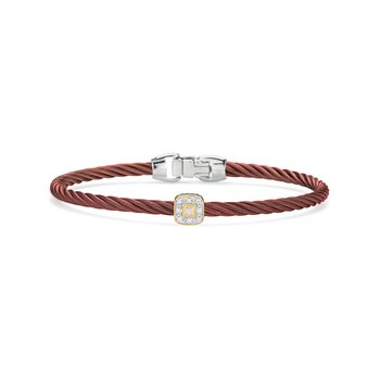Burgundy Cable Essential Stackable Bracelet with Single Square Diamond Station set in 18kt Rose Gold
