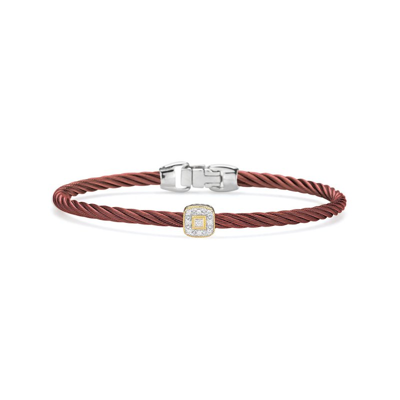 ALOR Burgundy Cable Essential Stackable Bracelet with Single Square Diamond Station set in 18kt Rose Gold