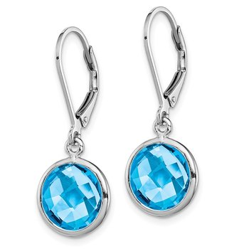 Sterling Silver Rhodium-plated Blue Topaz Earrings