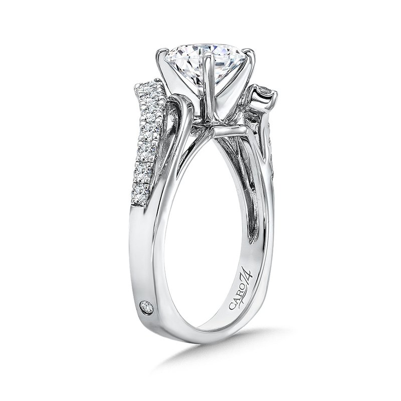 Caro74 Modernistic Collection Diamond Bypass Criss Cross Engagement Ring in 14K White Gold with Platinum Head (1-1/4ct. tw.)