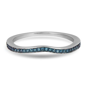 14K WG Blue Diamond Wedding Band in Prong Setting