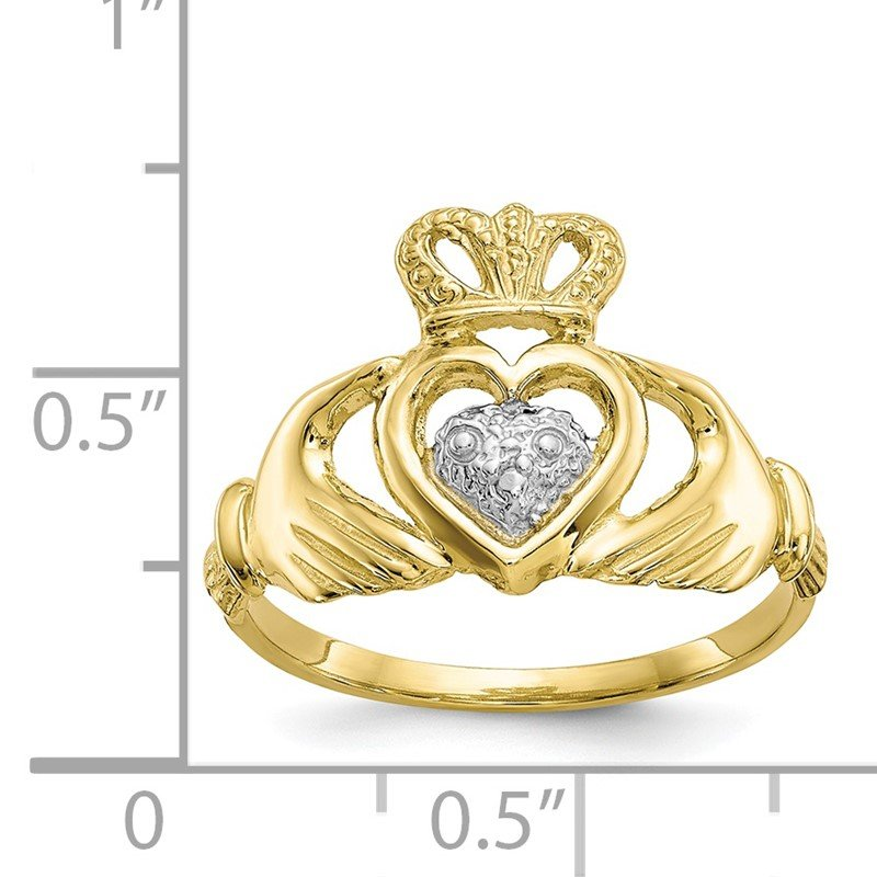 Quality Gold 10k & Rhodium Claddagh Ring